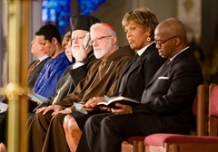 "Boston Cardinal Sean P. O'Malley joins Boston faith leaders at the ""Healing Our City"" interfaith prayer service to honor those affected by the Boston Marathon bombings, held at the Cathedral of the Holy Cross in Boston April 18. Pilot photo/ Gregory L. Tracy"